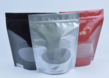 Tea / Coffee Beans Stand Up Aluminum Foil Packaging Bags With Clear Window